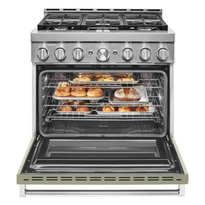 36 in. 5.1 cu. ft. Smart Commercial-Style Gas Range with Self-Cleaning and True Convection in Avocado Cream