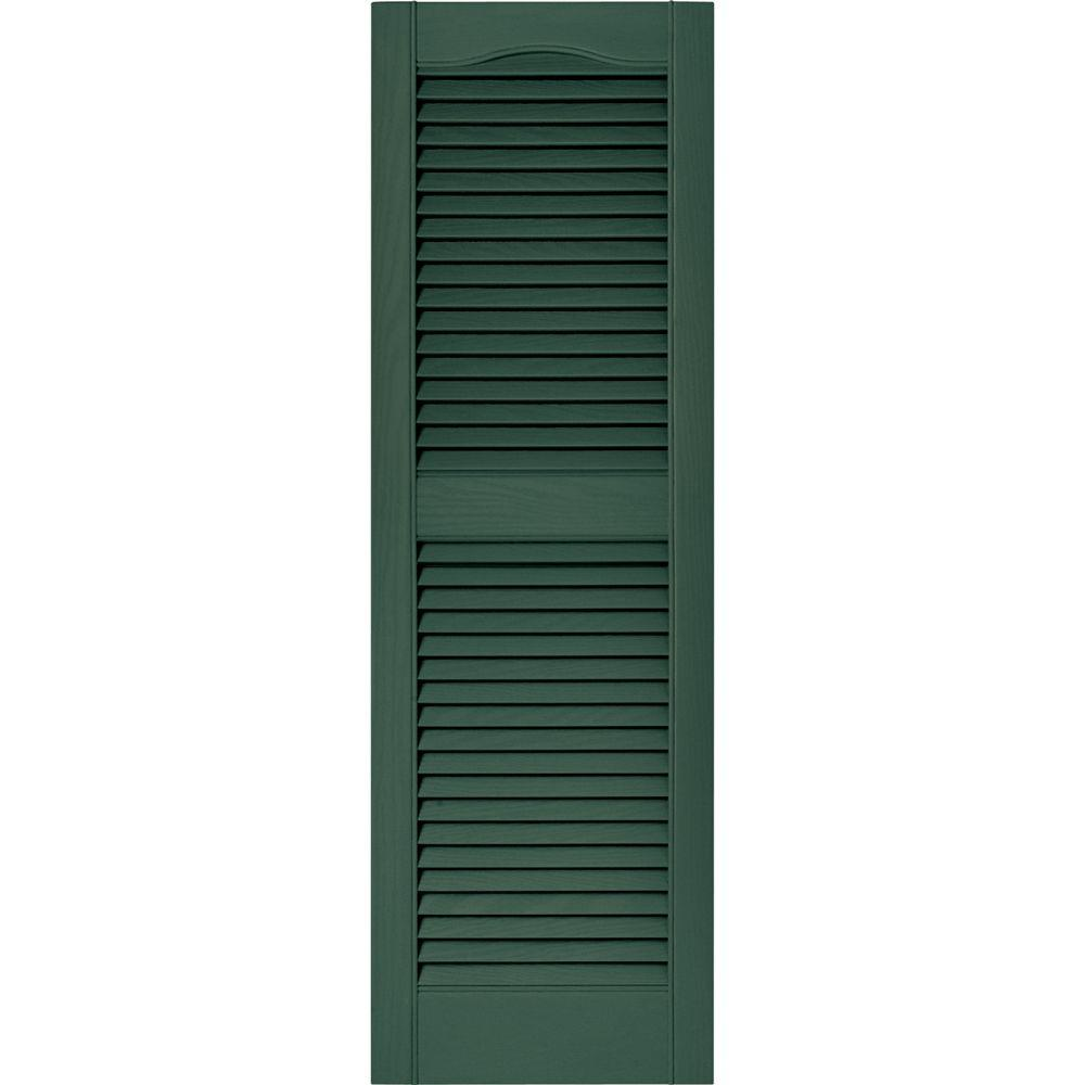Builders Edge 15 in. x 48 in. Louvered Vinyl Exterior Shutters ...