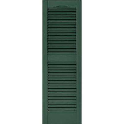15 in. x 48 in. Louvered Vinyl Exterior Shutters Pair in #028 Forest Green