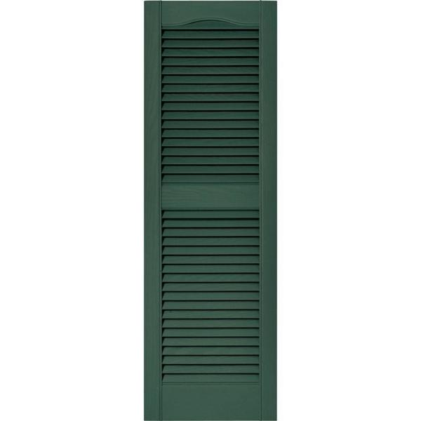 Builders Edge 15 In X 48 In Louvered Vinyl Exterior Shutters Pair In 028 Forest Green 010140048028 The Home Depot