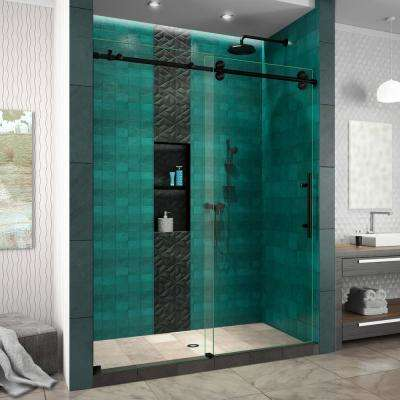 Enigma-XO 56-60 in. W x 76 in. H Frameless Sliding Shower Door in Satin Black Stainless Steel