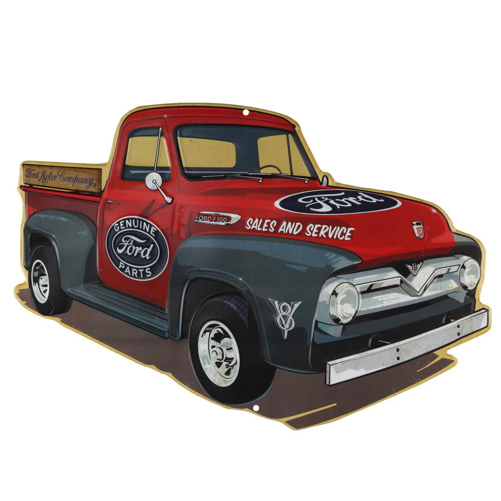 Retro Truck Red Embossed Tin Decorative Sign