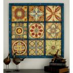 39 in. x 39 in. Rustic Nine Wooden Botanical Geometric Tiles Wall Plaque