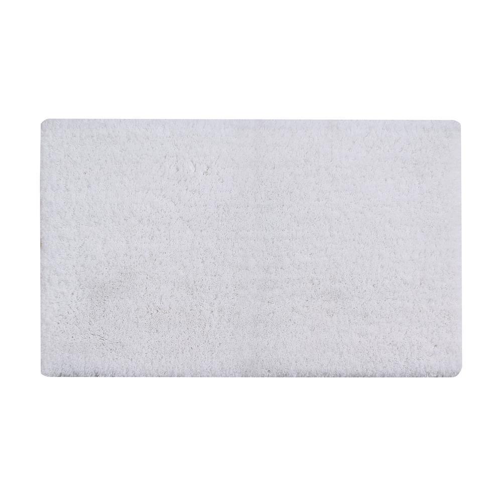 Micro Plush White 17 in. x 24 in. Cotton Bath Rug