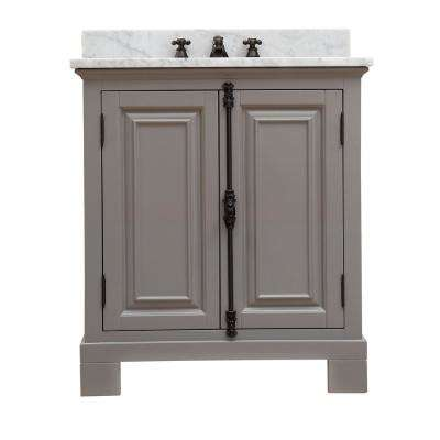 Greenwich 30 in. W x 22 in. D Vanity in Gray with Marble Vanity Top in White with White Basin