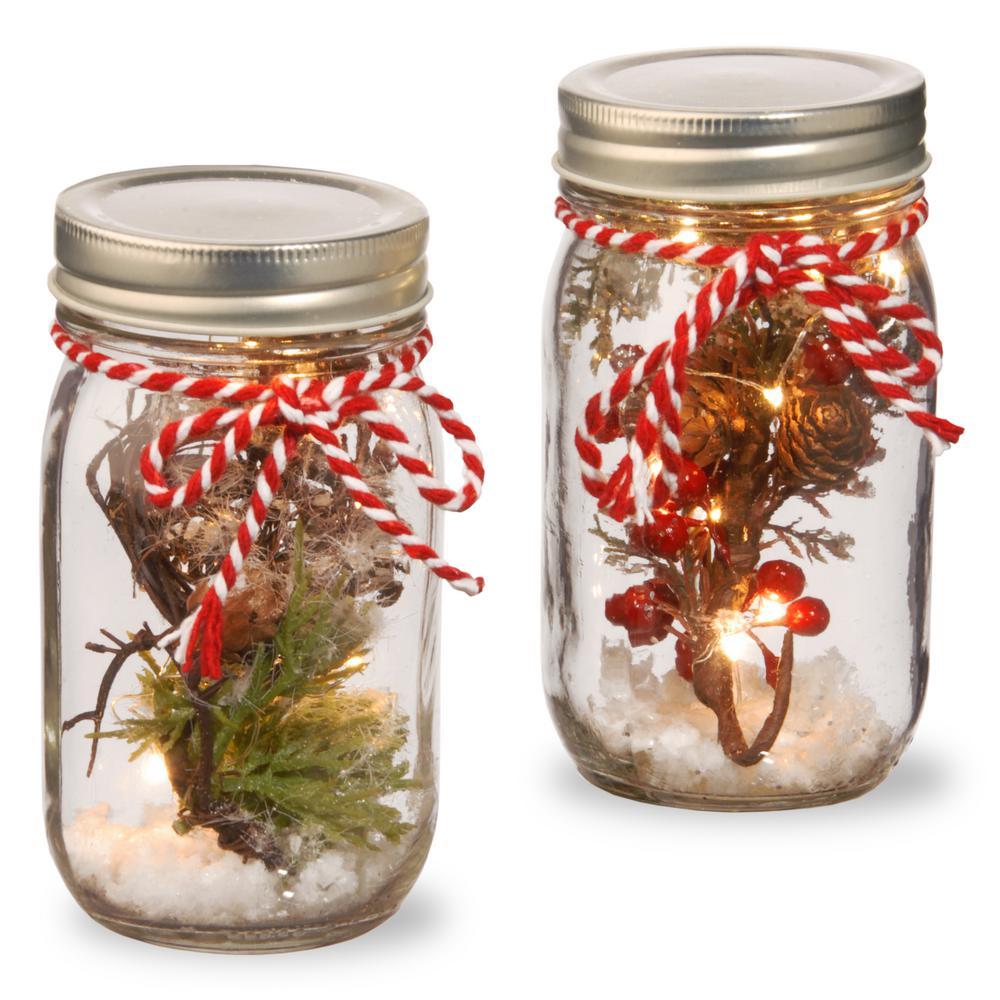 Holiday Accent Mason Jar Set With Lights