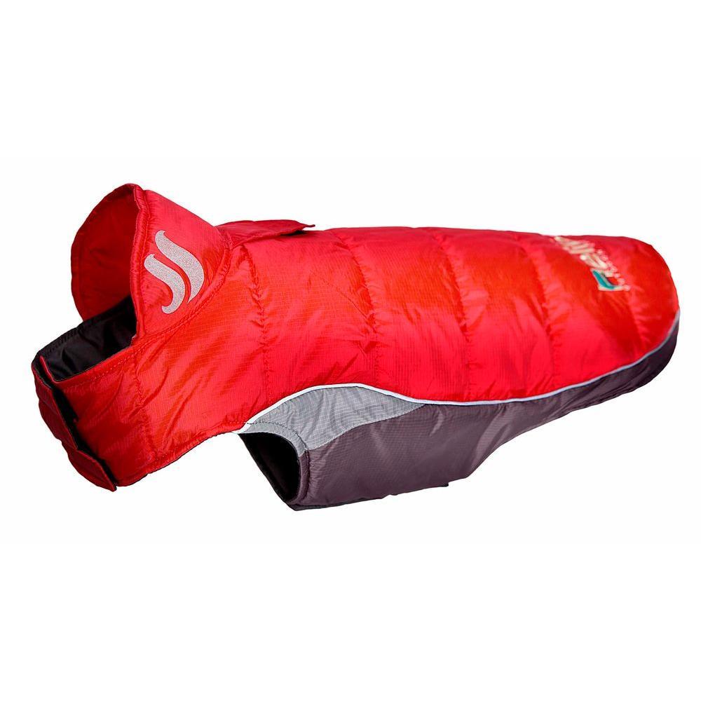 Large Molten Lava Red Hurricane-Waded Plush 3M Reflective Dog Coat with Blackshark Technology