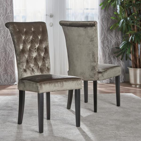 Venetian Grey and Dark Brown Tufted Dining Chair (Set of 2)