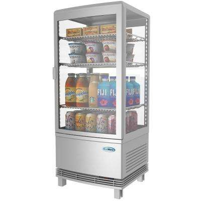 16 in. W 3 cu. Ft. Countertop Commercial Refrigerator Glass Display Beverage Cooler in Silver