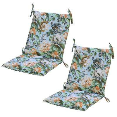Floral Charleston Floral Attached Ties Outdoor Cushions
