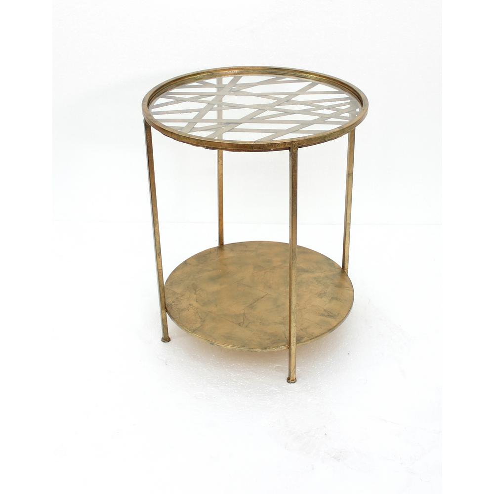 Gold Metal End Table with Glass Top