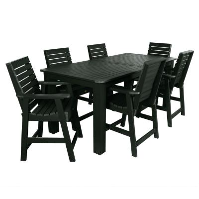 Weatherly Charleston Green 7-Piece Recycled Plastic Rectangular Outdoor Balcony Height Dining Set