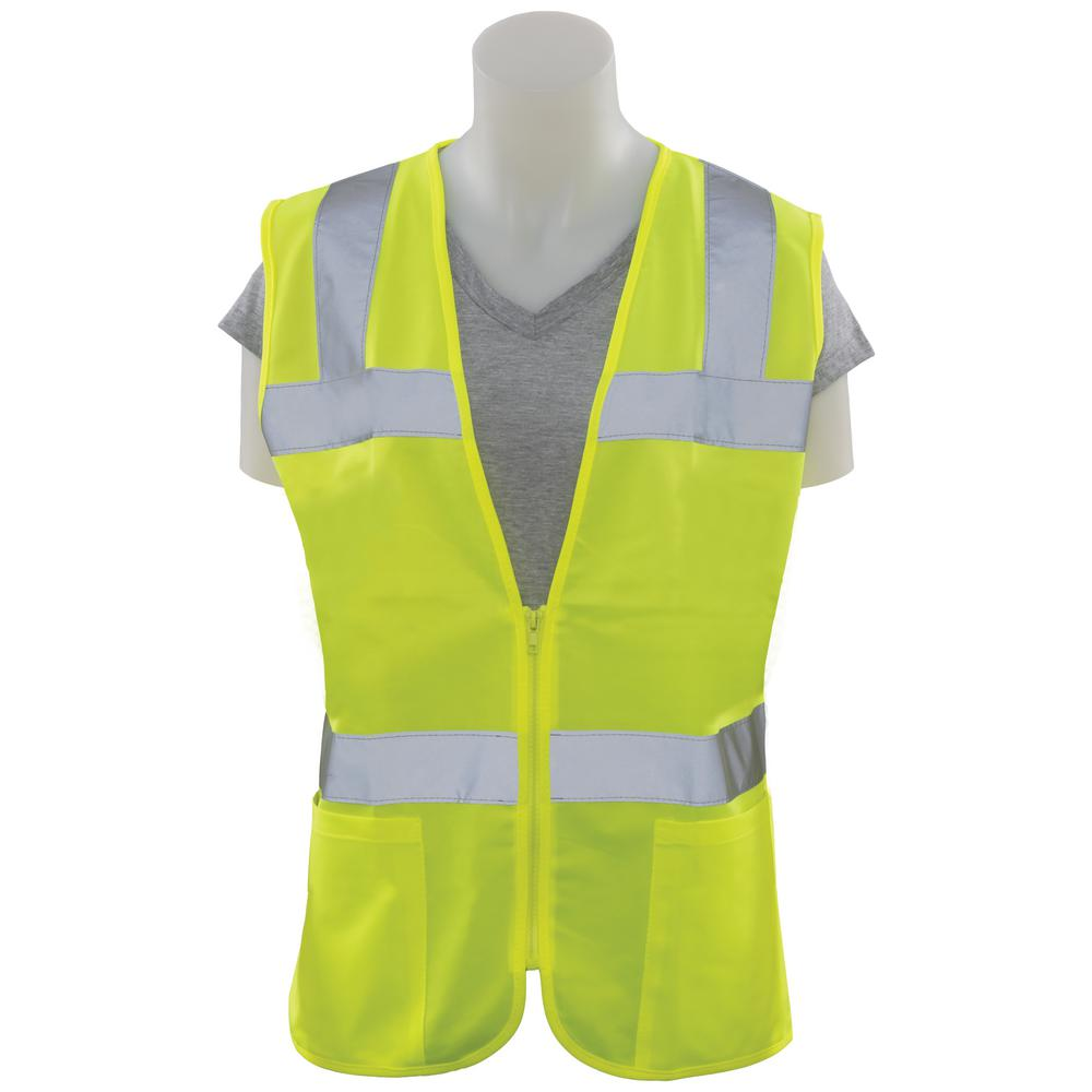 Girl Power At Work S720 XL Class 2 Women's Fitted Poly Tricot Hi-Viz Lime Vest