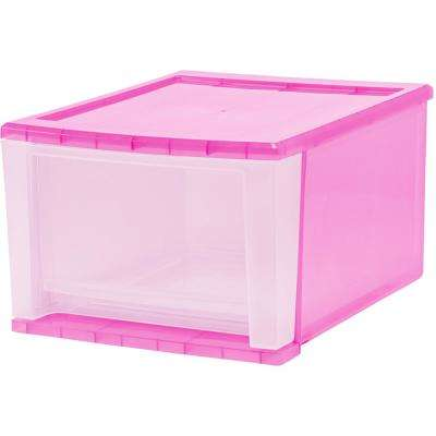 12.05 in. x 8.39 in. 17 Qt. Pink Stacking Drawer (4-Pack)