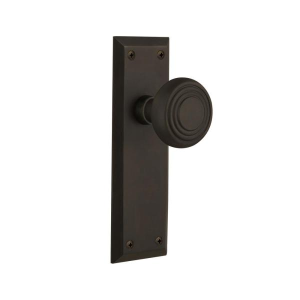 Nostalgic Warehouse New York Plate 2 3 4 In Backset Oil Rubbed Bronze Passage Hall Closet Deco Door Knob 709346 The Home Depot
