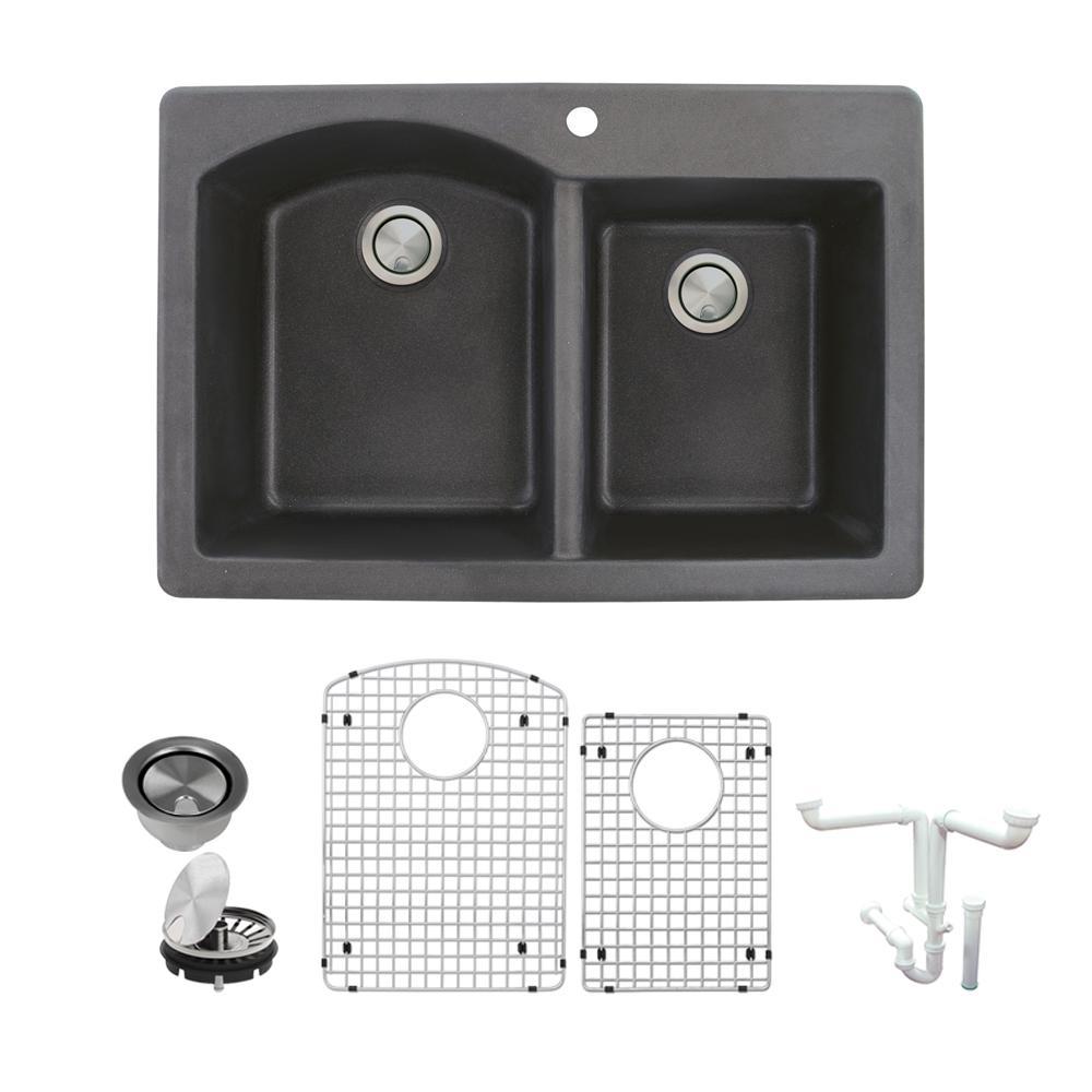 Aversa All-in-One Drop-in Granite 33 in. 1-Hole 1-3/4 in. D-Shape Double Bowl Kitchen Sink in Black