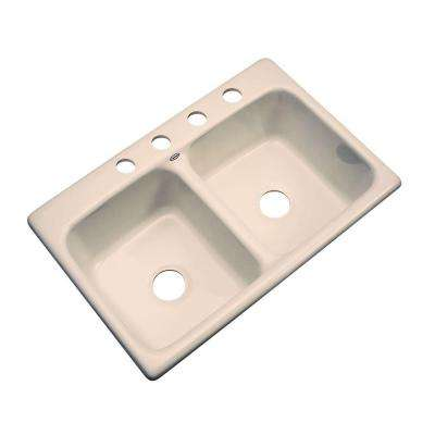Newport Drop-in Acrylic 33x22x9 in. 4-Hole Double Bowl Kitchen Sink in Peach Bisque