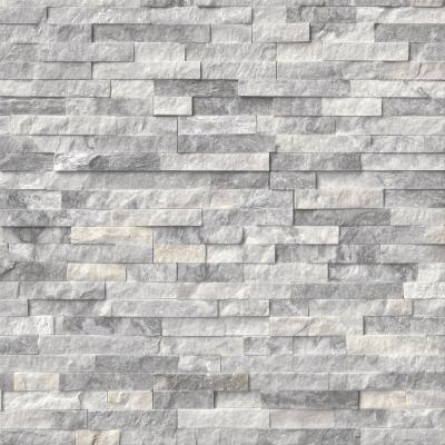 Alaska Gray Mini Ledger Panel 4.5 in. x 16 in. Natural Marble Wall Tile (5 sq. ft. /case)