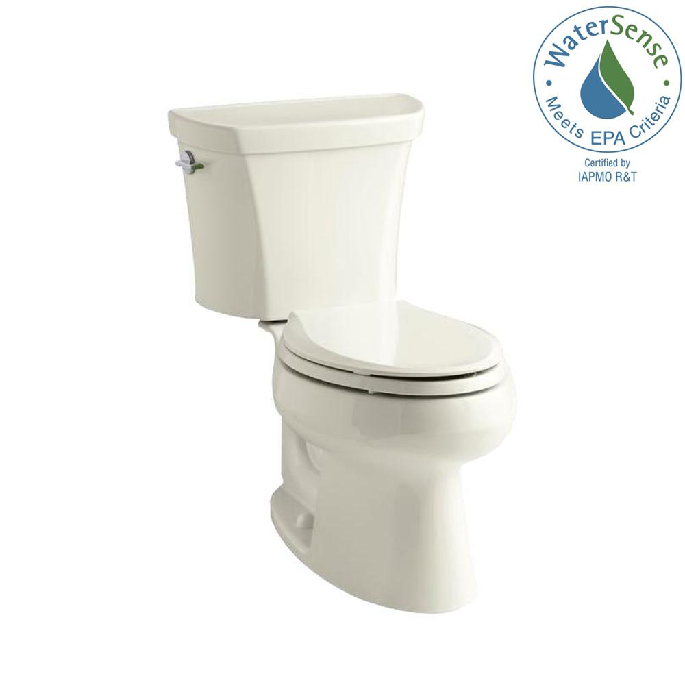 KOHLER Wellworth 2-piece 1.1 or 1.6 GPF Dual Flush Elongated Toilet in Biscuit