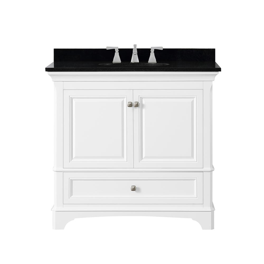 Home Decorators Collection Moorpark 37 in. W Bath Vanity in White with Granite Vanity Top in Black with White Basin