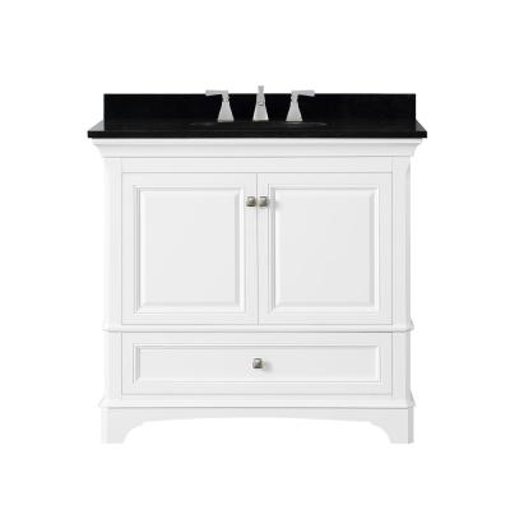 Moorpark 37 in. W Bath Vanity in White with Granite Vanity Top in Black with White Basin