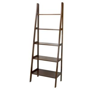 72 in. Warm Brown Wood 5-shelf Ladder Bookcase with Open Back