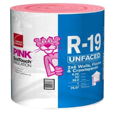R-19 EcoTouch PINK Unfaced Fiberglass Insulation Continuous Roll 23 in. x 39.2 ft.