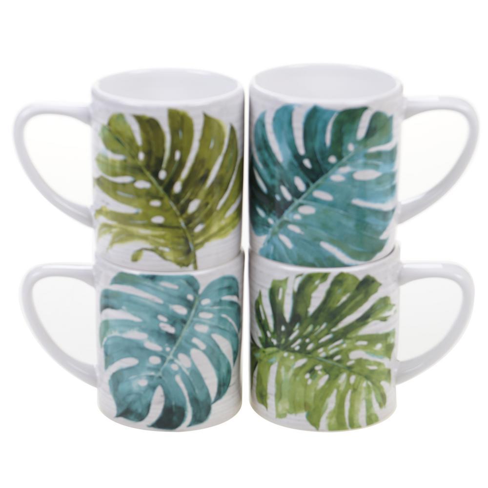 Palm Leaves 16 oz. Green Mug (Set of 4)
