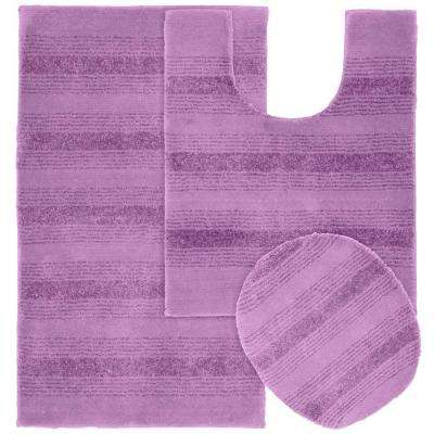 Essence Purple 21 in. x 34 in. Washable Bathroom 3-Piece Rug Set