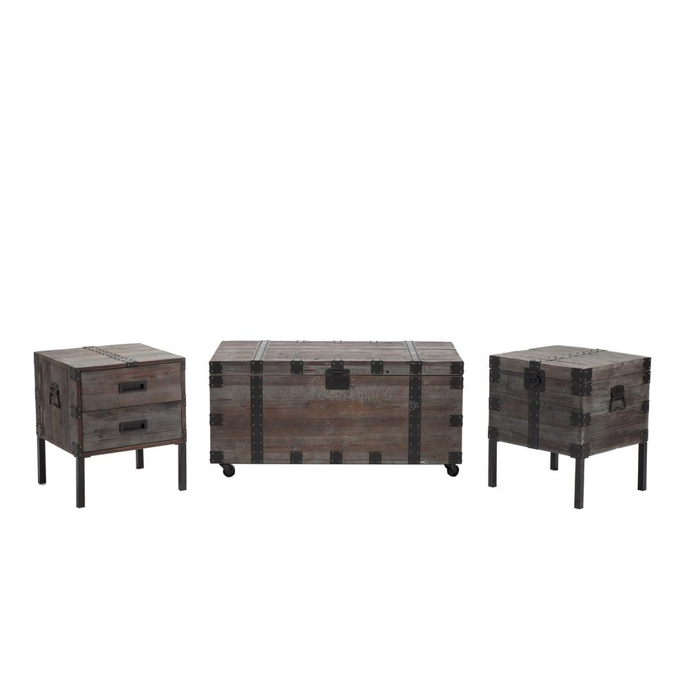 Crawford & Burke Burke Antique Gray Occasional Table Set Keep all your drinks, snacks, and TV accessories at arm's reach with the Crawford & Burke Coffee Table and enjoy a cozy evening at home. With a rustic style, this coffee table creates a warm, nature-inspired tone in your living space. It features a wooden build, conveying sophistication and charm. Featuring storage space, it is a stylish solution for keeping any room organized. With a lift top design, it will be a practical addition to your living room by providing a convenient place to dine or work from home. This coffee table is designed with casters, giving it maneuverability. Color: Antique Gray.