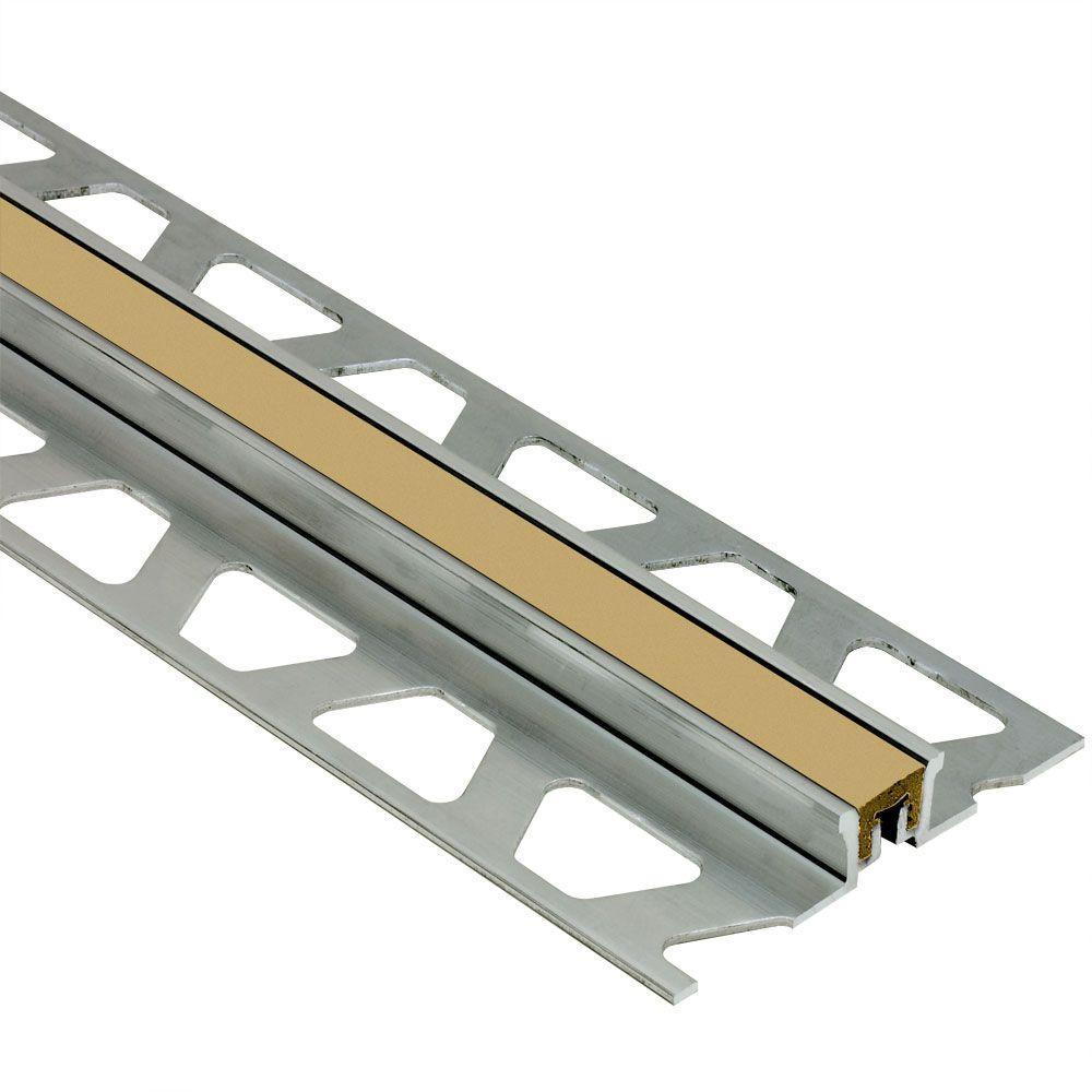 Schluter Dilex-KSN Aluminum with Light Beige Insert 3/8 in. x 8 ft. 2-1/2 in. Metal Movement Joint Tile Edging Trim