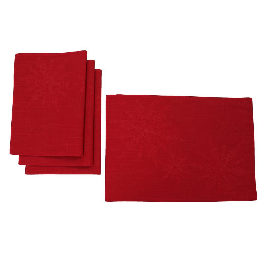 Beautiful Christmas Placemats /& Coasters Set Snowflake Lazercut Red Felt Table