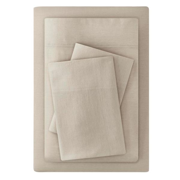 Jersey Knit Cotton Blend 3-Piece Twin Sheet Set in Biscuit