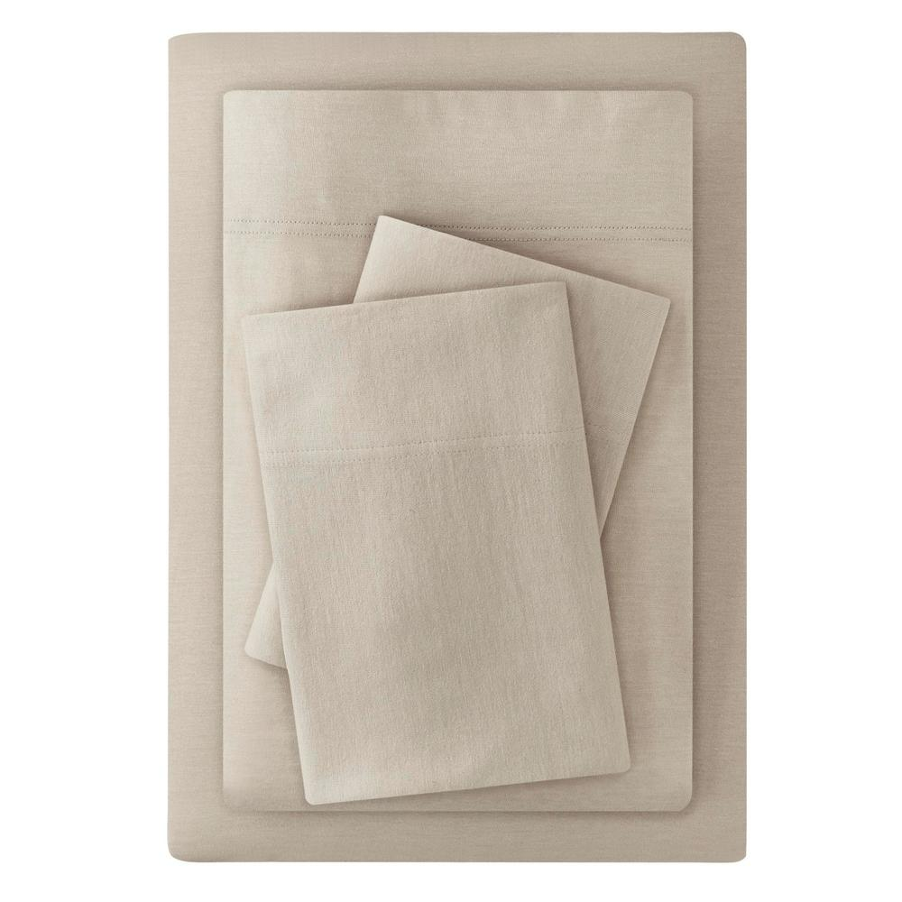 Stylewell StyleWell Jersey 4-Piece Queen Sheet Set in Biscuit