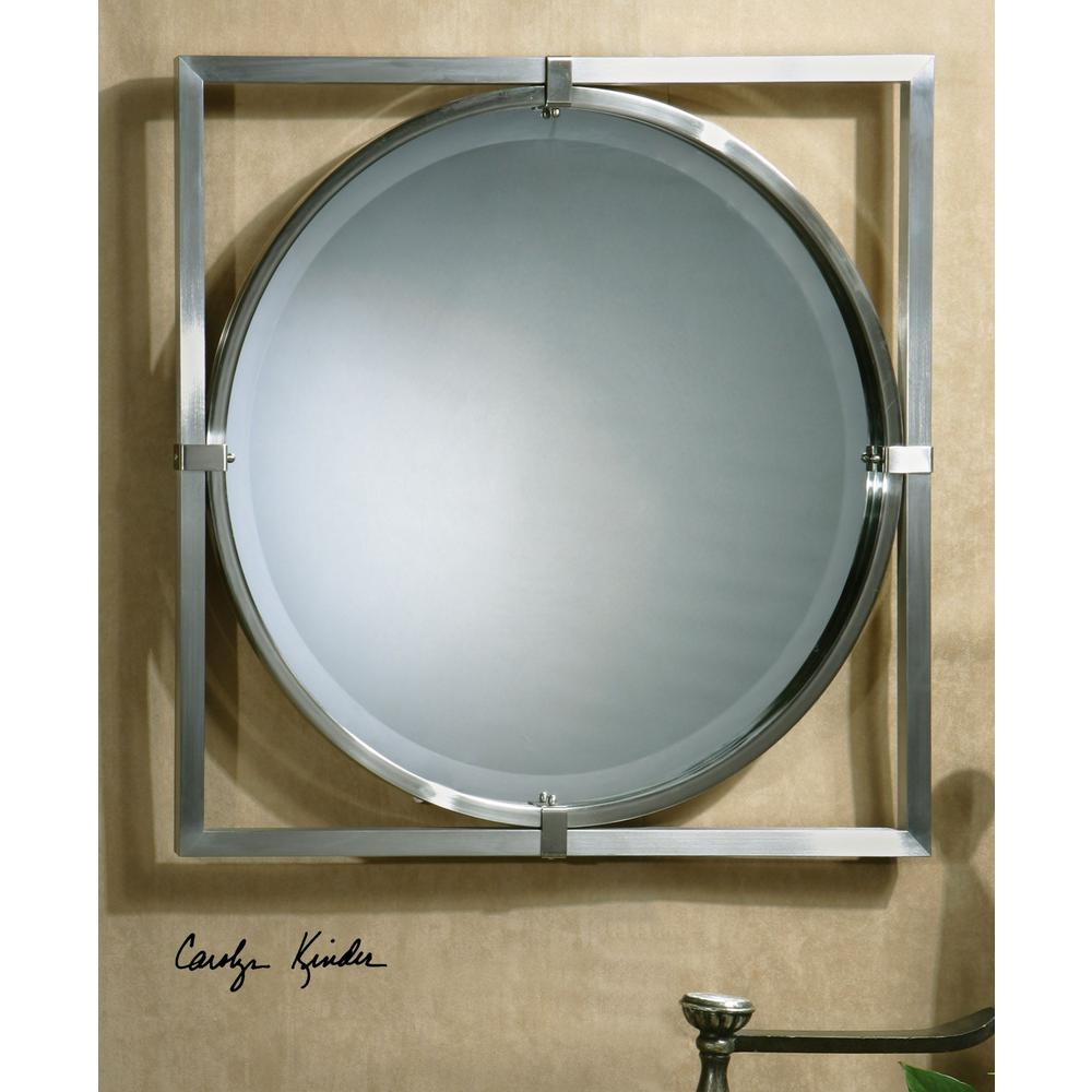 Global Direct 30 In X 30 In Brushed Nickel Framed Mirror 01053 B The Home Depot