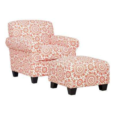 Winnetka Arm Chair and Ottoman in Coral Medallion