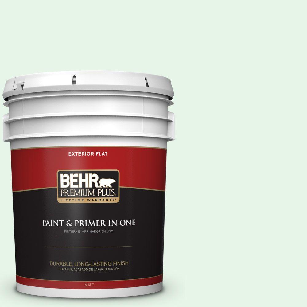 BEHR Premium Plus 5-gal. #450C-1 Dinner Mint Flat Exterior Paint