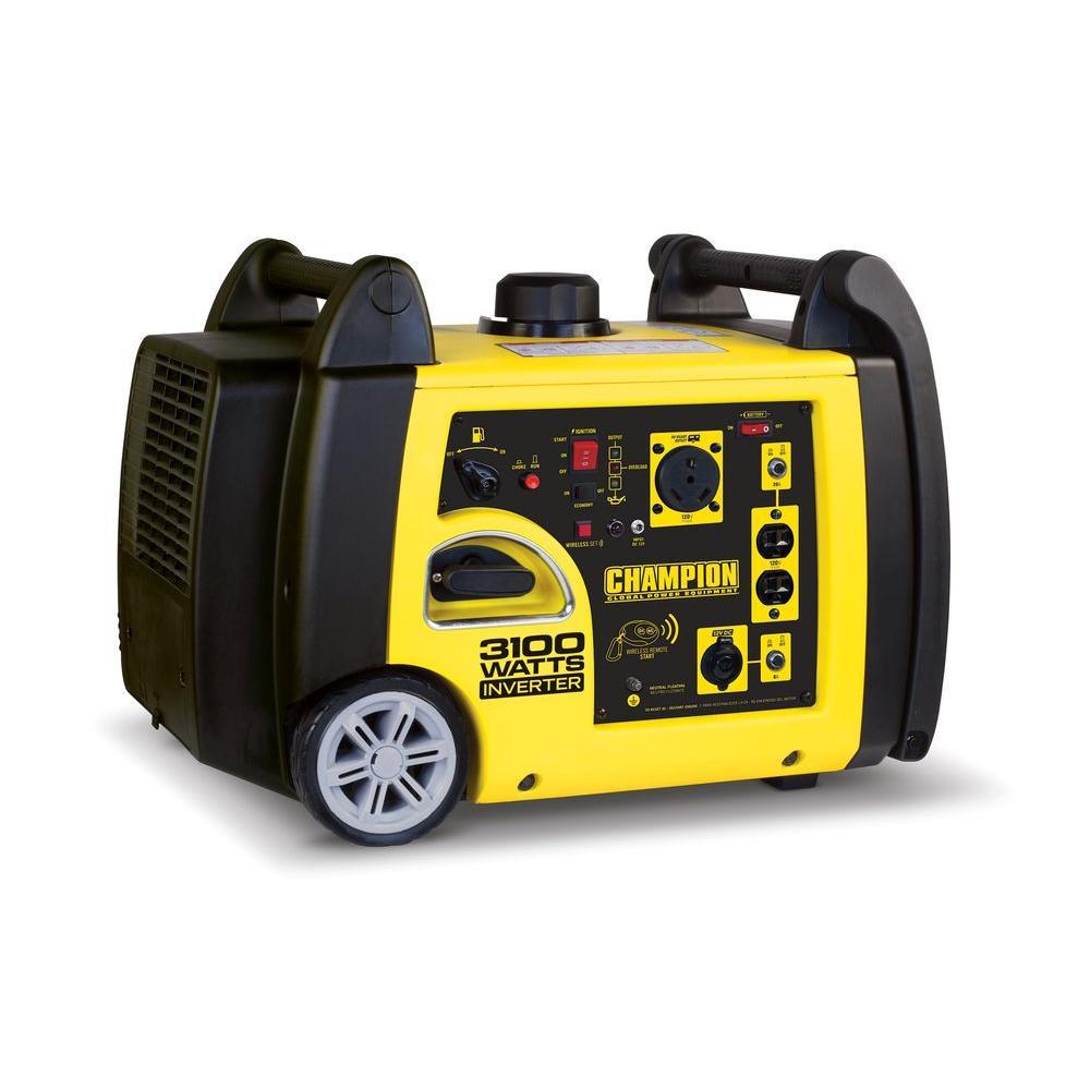 3,100-Watt Gasoline Powered Wireless Remote Start Inverter Generator