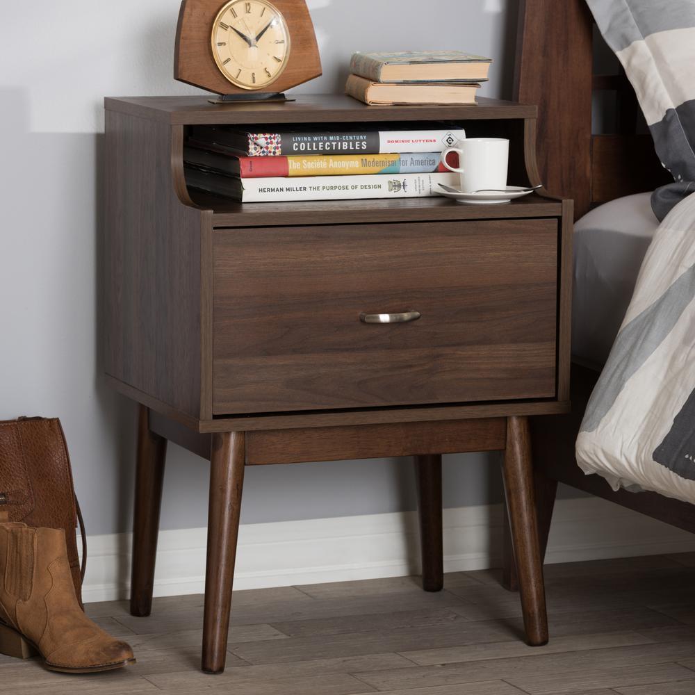 Disa 1-Drawer Brown Nightstand