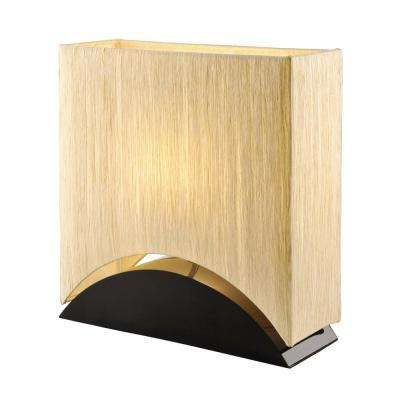 Sakura 17 in. Modern and Space-Efficient Premium Shade Table Lamp with Black Lacquer Wood Base