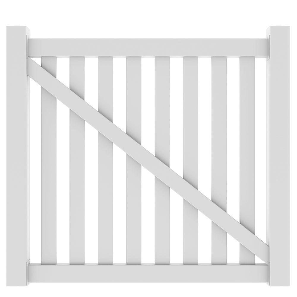 Veranda 5 ft. W x 4 ft. H Ohio White Drive Gate Kit