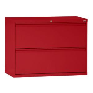 800 Series 28.375 in. H x 42 in. W x 19.25 in. D 2-Drawer Full Pull Lateral File Cabinet in Red