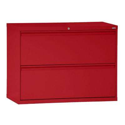 800 Series 28 in. H x 42 in. W x 19 in. D 2-Drawer Full Pull Lateral File Cabinet in Red