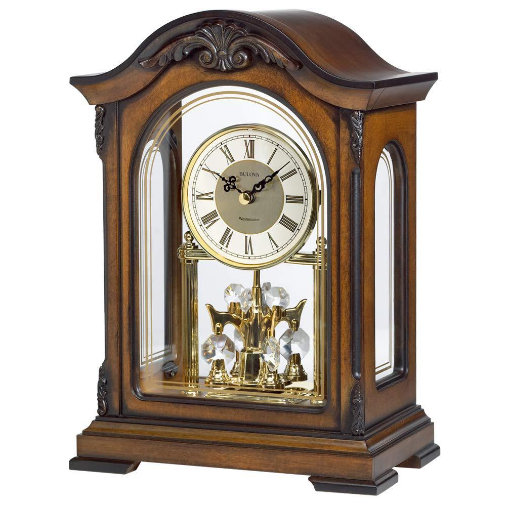 B1845 Durant Walnut Brown Wood and Glass Revolving Pendulum Clock