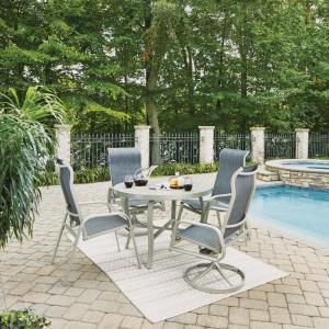 Home Styles South Beach Gray 5-Piece Aluminum Round Outdoor Dining Set by Home Styles