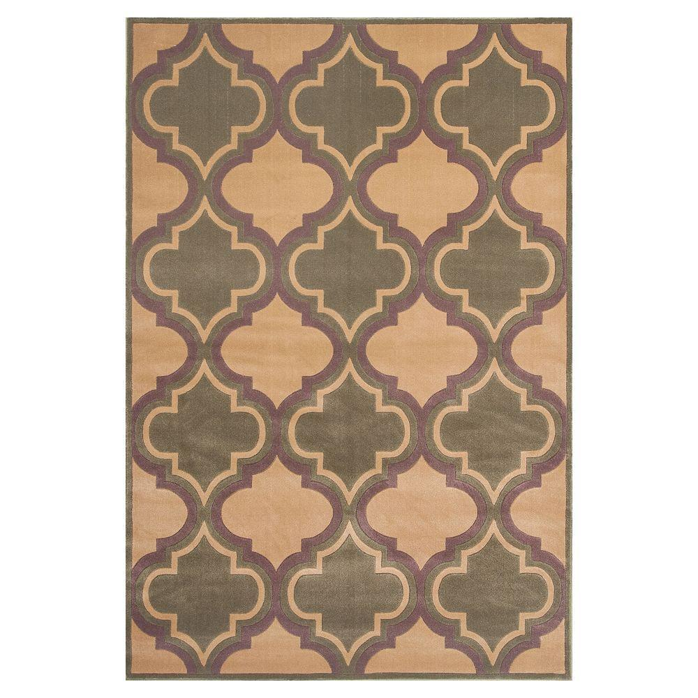 Kas Rugs Pure Elegance Beige/Sage 7 ft. 7 in. x 10 ft. 10 in. Area Rug
