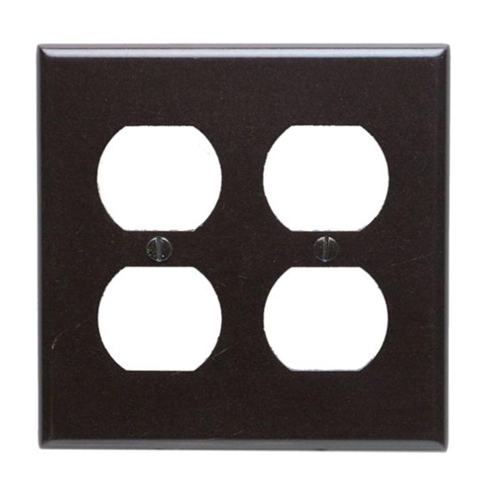 2-Gang Standard Size 2-Duplex Receptacles Plastic Wall Plate, Brown