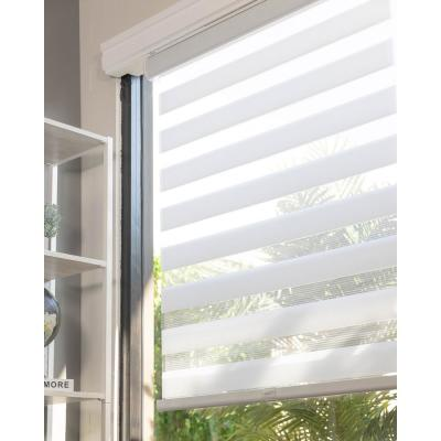 Basic Arctic Cordless Cut-to-Width Light Filtering Dual Layer Zebra Roller Shade 58 in. W x 72 in. L