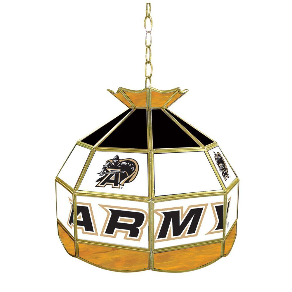 Trademark Global Army Black Knights 16 in. Gold Hanging Tiffany Style Billiard Lamp