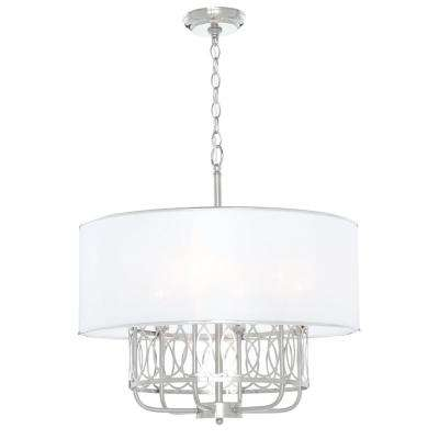 Venn 6-Light Brushed Nickel Chandelier with White Fabric Shade